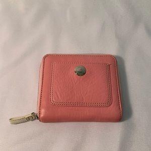 Coach Zip Around Pink Leather Wallet